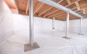 Crawl space structural support jacks installed in Noelville
