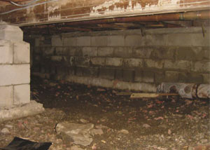 Rotting, decaying crawl space wood damaged over time in [city]
