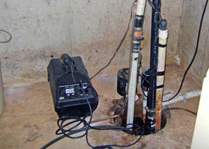 Pedestal sump pump system installed in a home in Temiskaming Shores
