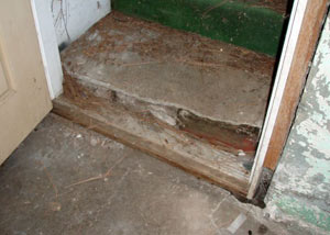 A flooded basement in Whitefish where water entered through the hatchway door