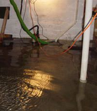 Several feet of floodwaters in a Monetville basement
