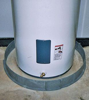 An old water heater in Whitefish, ON with flood protection installed