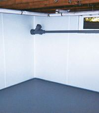Plastic basement wall panels installed in a Mindemoya, Ontario home