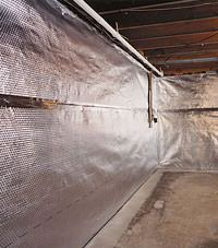 Radiant heat barrier and vapor barrier for finished basement walls in Mindemoya, Ontario